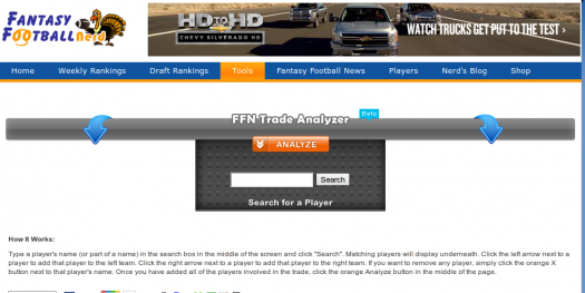 Fantasy Football Nerd Trade Analzyer (Beta)